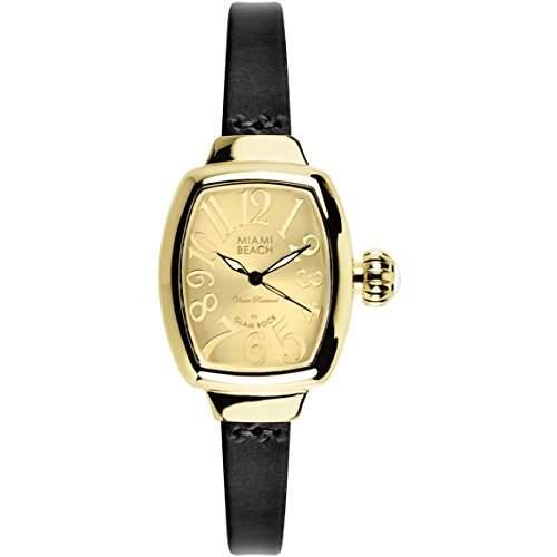 Glam Rock Miami Beach Art Deco Damen Schwarz Leder Armband Uhr MBD27152N