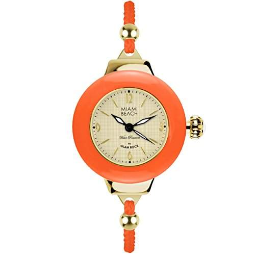 Glam Rock Miami Beach Art Deco Collection Damen 36mm Mineral Glas Uhr MBD27184