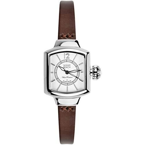 Glam Rock Miami Beach Art Deco Damen Braun Leder Armband Uhr MBD27219N