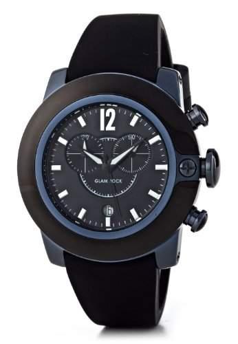 Glam Rock-sb3003-SoBe-Armbanduhr-Quarz Chronograph-Zifferblatt schwarz Armband Silikon Schwarz