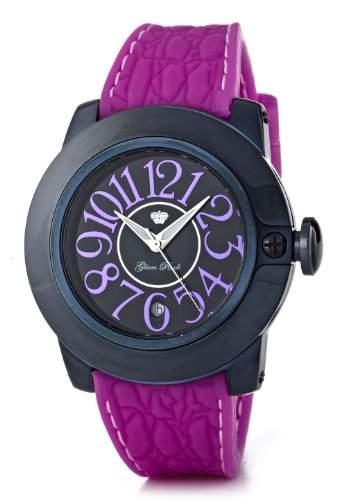Glam Rock-SB3010-SoBe Damen-Armbanduhr-Quarz Analog-Zifferblatt schwarz Armband Silikon Violett