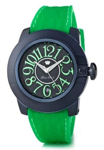 Glam Rock-SB3011-SoBe Damen-Armbanduhr-Quarz Analog-Zifferblatt schwarz Armband Silikon Gruen