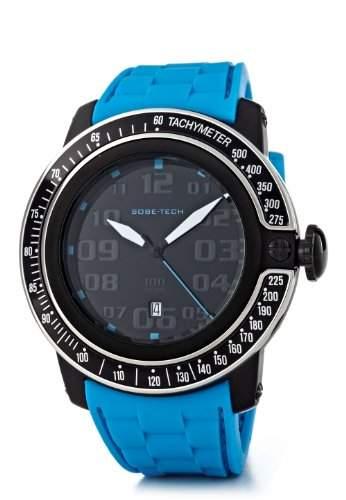 Glam Rock-SB3017-SoBe Tech-Armbanduhr-Quarz Analog-Zifferblatt schwarz Armband Silikon Tuerkis
