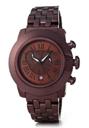 Glam Rock-sb3019-SoBe-Armbanduhr-Quarz Chronograph-Zifferblatt schwarz Armband Stahl vergoldet braun