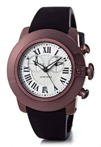 Glam Rock-sb3020-SoBe-Armbanduhr-Quarz Chronograph-Zifferblatt schwarz Armband Silikon Schwarz