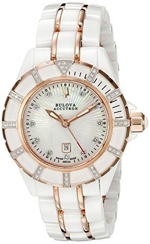 Bulova Accutron Ladies Mirador Ceramic And Rose Gold Diamond Watch 65R140