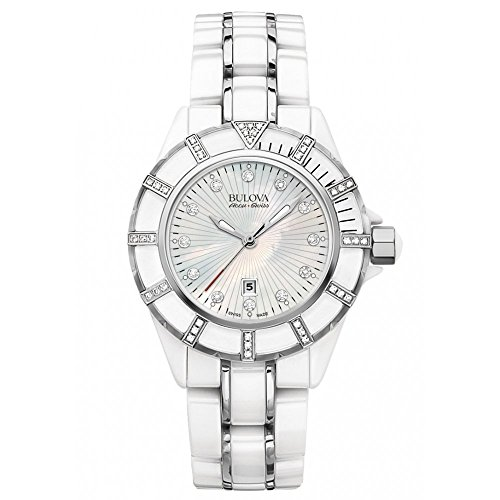Bulova Accutron Ladies Mirador White Ceramic Diamond Bracelet Watch 65R137