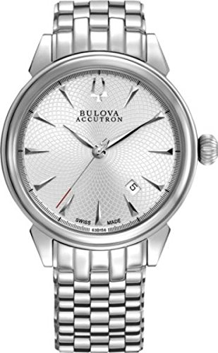 Bulova Accutron Mens Gemini Silver Patterned Dial Bracelet Watch 63B1