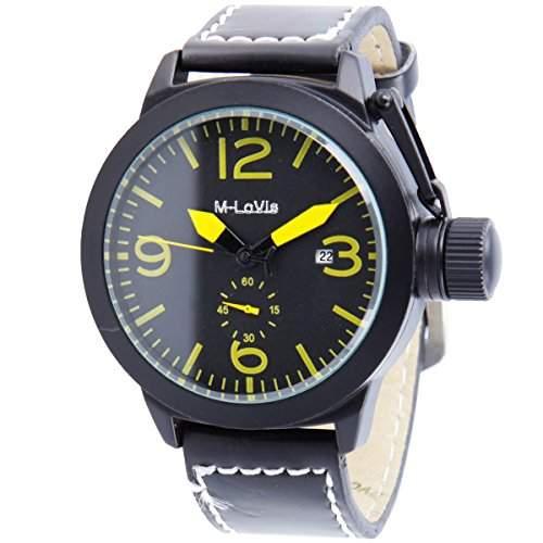 Monte Lovis - Automatik Armbanduhr - Herren Armbanduhr im Militaer-Design - Farbe: Schwarz - Gelb