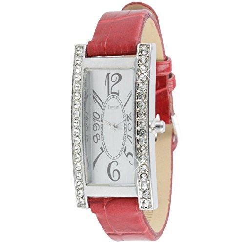 Luxus Damen Uhr mit Swarowski Strass und Lederarmband