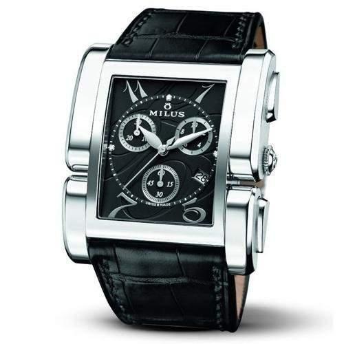 Milus Apiana Damen Chronograph Schwarz Leder Armband Saphirglas Uhr APIQ002