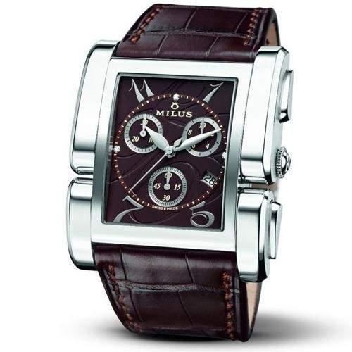 Milus Apiana Damen Chronograph Braun Leder Armband Edelstahl Gehäuse Uhr APIQ003