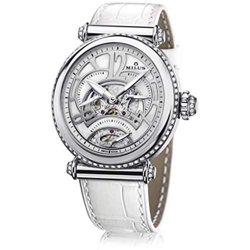 Milus Merea Damen Automatikwerk Weiß Leder Armband Edelstahl Gehäuse Uhr MER005