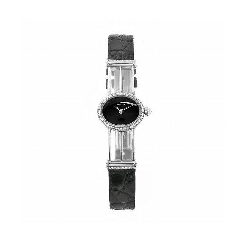 Milus Damen PER007 Persea schwarzem Krokodilleder Diamant Akzent Uhr