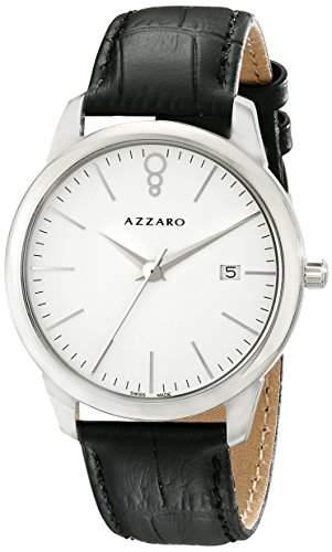 Azzaro Legend Herren 40mm Schwarz Leder Armband Mineral Glas Uhr AZ204012AB000