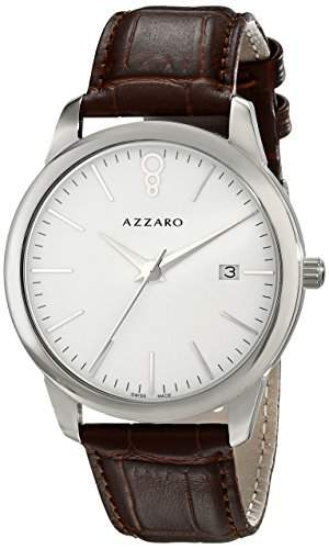 Azzaro Legend Herren 40mm Braun Leder Armband Mineral Glas Uhr AZ204012AH000
