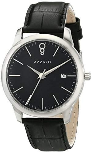 Azzaro Legend Herren 40mm Schwarz Leder Armband Mineral Glas Uhr AZ204012BB000
