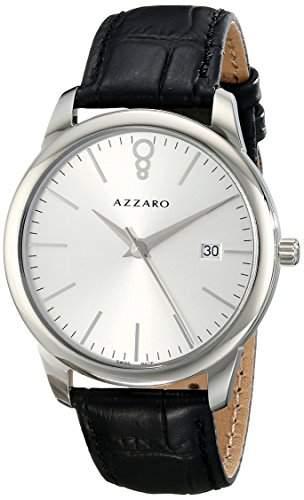 Azzaro Legend Herren 40mm Schwarz Leder Armband Mineral Glas Uhr AZ204012SB000