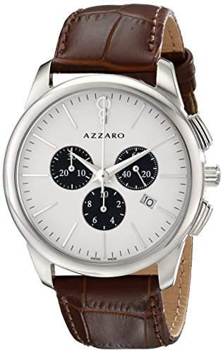Azzaro Legend Herren 42mm Chronograph Braun Leder Armband Uhr AZ204013AH000