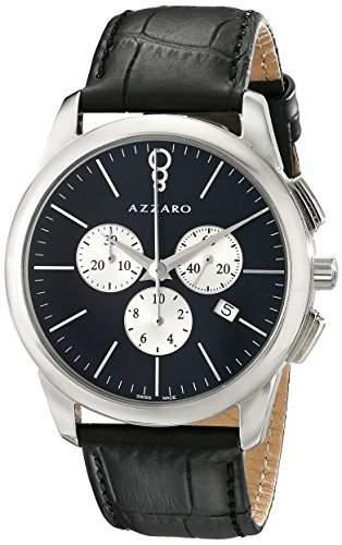 Azzaro Legend Herren 42mm Chronograph Schwarz Leder Armband Uhr AZ204013BB000