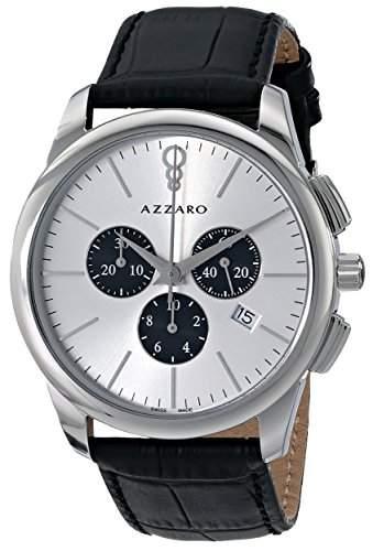 Azzaro Legend Herren 42mm Chronograph Schwarz Leder Armband Uhr AZ204013SB000