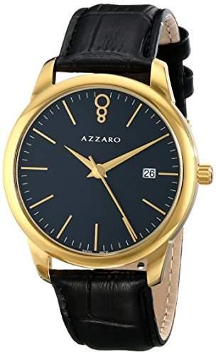 Azzaro Legend Herren 40mm Schwarz Leder Armband Mineral Glas Uhr AZ204062BB000
