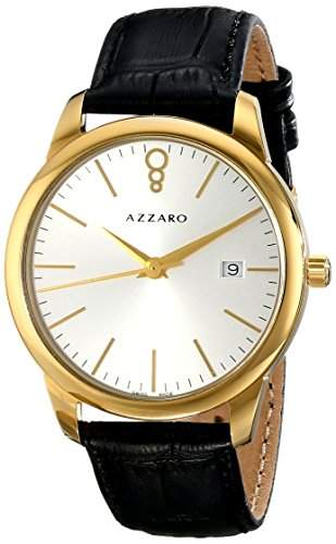 Azzaro Legend Herren 40mm Schwarz Leder Armband Mineral Glas Uhr AZ204062SB000