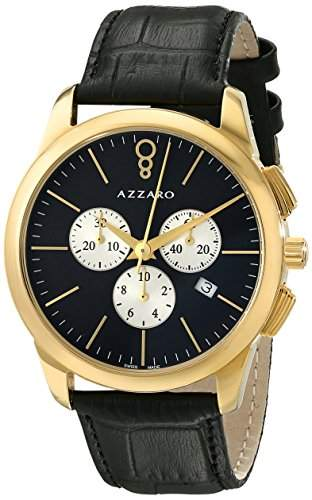 Azzaro Legend Herren 42mm Chronograph Schwarz Leder Armband Uhr AZ204063BB000