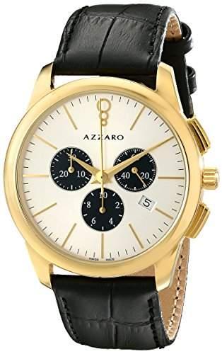 Azzaro Legend Herren 42mm Chronograph Schwarz Leder Armband Uhr AZ204063SB000
