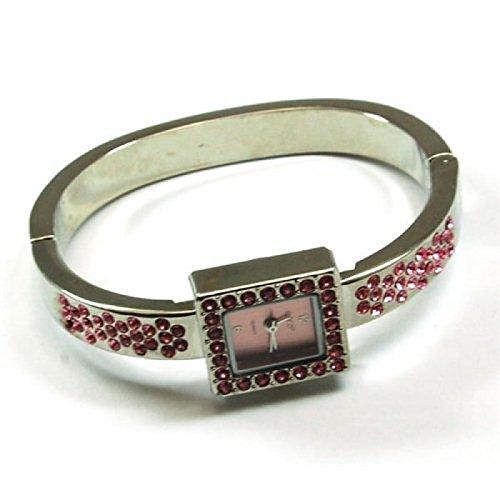 Die Olivia Kollektion Silberfarbene quadratische rosa Kristall Spangenuhr