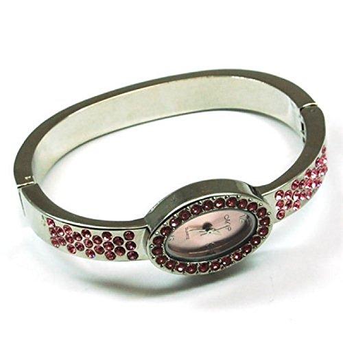Die Olivia Kollektion Silberfarbene rosa Zirkonia ovale Spangenuhr