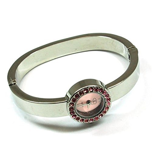 Die Olivia Kollektion Silberfarbene runde rosa Zirkonia Spangenuhr