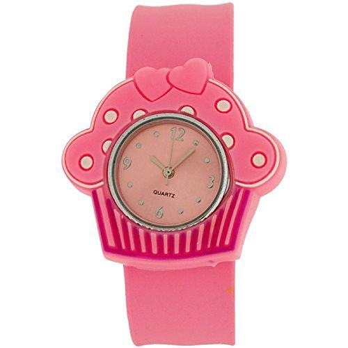 Kids Girls analoge Cupcake Uhr rosa Zifferblatt und rosa Federarmband
