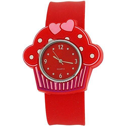 Kids Girls analoge Cupcake Uhr rotes Zifferblatt und rotes Federarmband