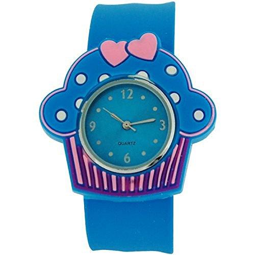 Kids Girls analoge Cupcake Uhr blaues Zifferblatt und blaues Federarmband