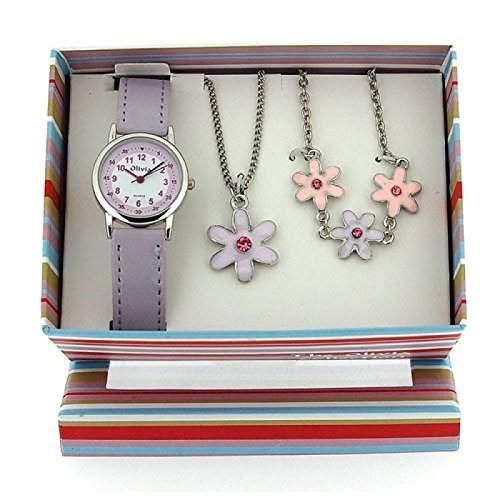 The Olivia Collection- Armbanduhr, Anhaenger und Armband mit BlumenGeschenkset KS001