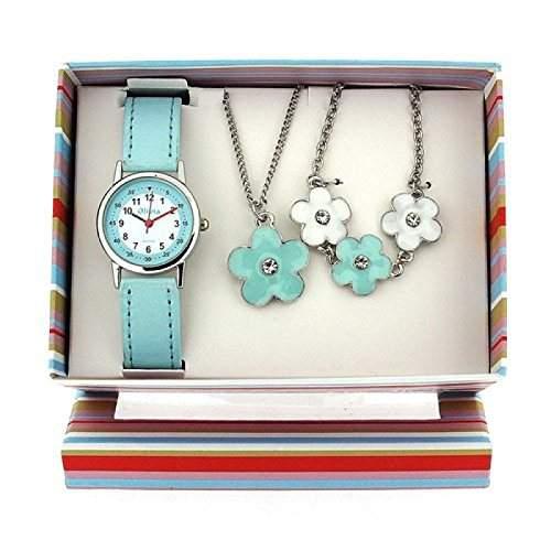 The Olivia Collection- Armbanduhr, Anhaenger und Armband mit Blumen Geschenkset KS005