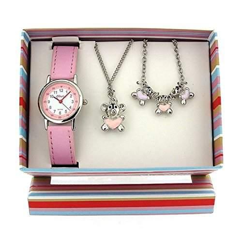 The Olivia Collection- Armbanduhr, Anhaenger und Armband mit Teddybaeren Geschenkset KS006