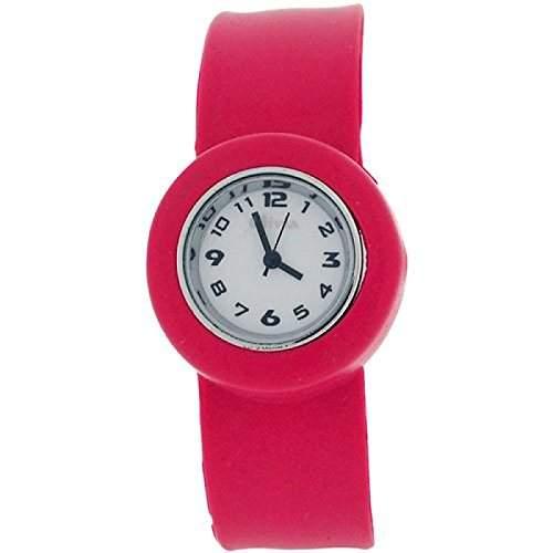 Rosa Slap Kinderuhr mit Armband aus Silikon