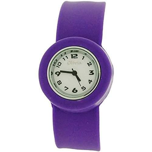Violett Slap Kinderuhr mit Armband aus Silikon