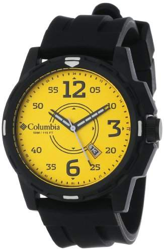 Columbia Herren-Armbanduhr 50mm Armband Silikon Schwarz Gehäuse Plastik Quarz Zifferblatt Gelb CA800901