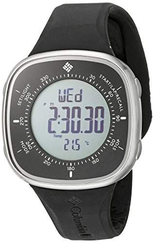 Columbia Herren-Armbanduhr 46mm Armband Silikon Schwarz Gehaeuse Harz Batterie Zifferblatt Grau CT001005