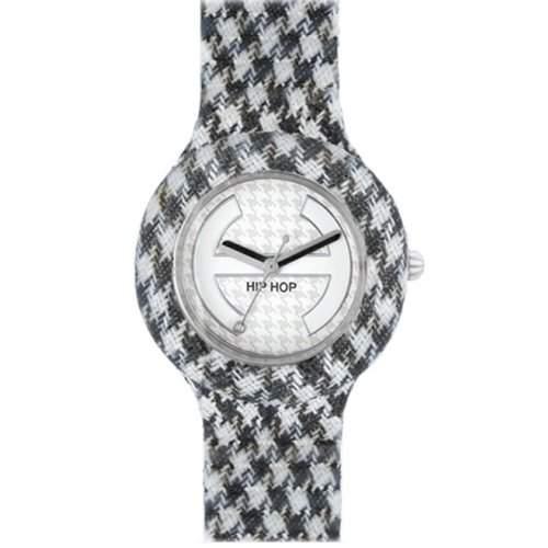 HIP HOP HWU0372 Piedde poule noiretblanc Uhr Kautschuk Kunststoff 30m Analog schwarz