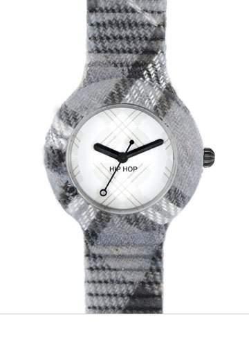 HIP HOP HWU0380 Tartan glasglow gray Uhr Kautschuk Kunststoff 30m Analog grau
