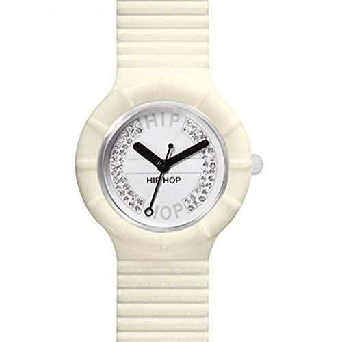 HIP HOP HWU0384 Crystal Uhr Kautschuk Kunststoff 30m Analog creme