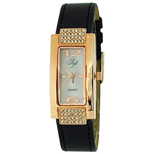 Style Damenuhr, kristallb roségoldene Luenette, MOP Zifferbl & schw Band NSS