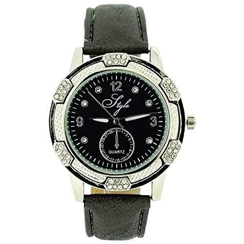 Style Damenuhr, kristallbes Luenette, graues Zifferblatt & PU Armband NSS914