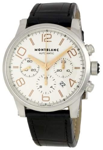 Montblanc Herren 43mm Chronograph Schwarz Leder Armband Datum Uhr 101549