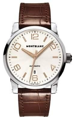 MONTBLANC TIMEWALKER HERREN 42MM AUTOMATIKWERK BRAUN LEDER ARMBAND UHR 101550