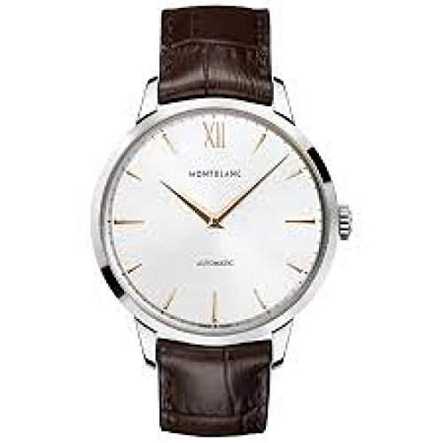 Montblanc Herren-Armbanduhr 41mm Armband Leder Braun Gehaeuse Edelstahl Automatik Zifferblatt Silber 110695